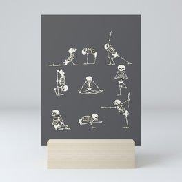 Skeleton Yoga_Gray Mini Art Print