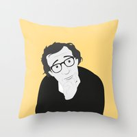 woody allen Throw Pillows featuring Woody Allen by Simone G