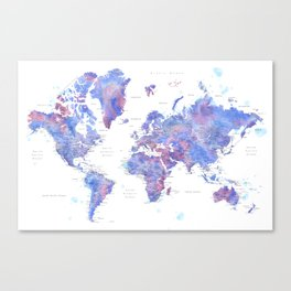 Blue and purple detailed watercolor world map with cities Zora Canvas Print