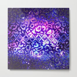 TRIBAL LEOPARD GALAXY Animal Print Aztec Native Pattern Geometric Purple Blue Ombre Space Galactic Metal Print