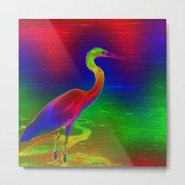 Electric Bird-Heron Metal Print