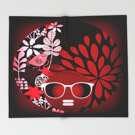 Afro Diva : Sophisticated Lady Red Throw Blanket