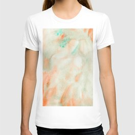 Abstract Watercolor Minimalist Seashell peach turquoise marble T-shirt