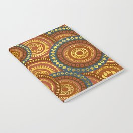 Circular Ethnic  pattern pastel gold and brown, teal Notebook