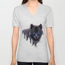 Wolf watercolor, Watercolor Wolf, Watercolor animal, Wolf portrait, Woodland animal Unisex V-Neck