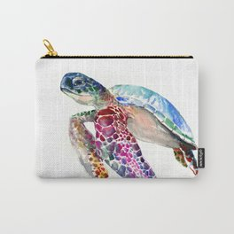 Sea Turtle, swimming turtle art, purple blue design animal art Carry-All Pouch
