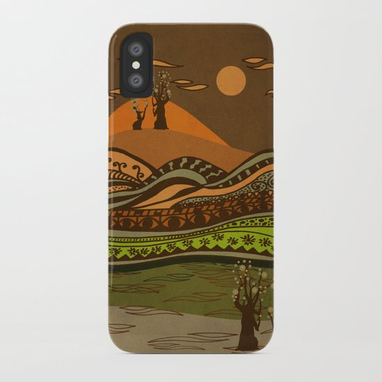 psychedelic mountains iPhone Case