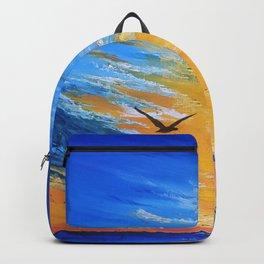 ocean sunset, original oil painting landscape, blue wall art, beach decor Backpack