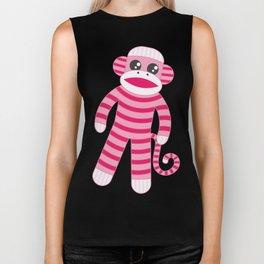 Pink Polka Dot Sock Monkey Biker Tank