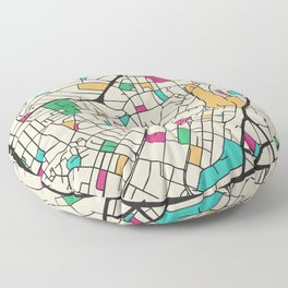 Colorful City Maps: Sheffield, England Floor Pillow