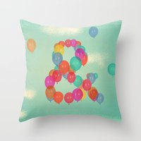balloon Throw Pillows featuring Balloon by Pepe Psyche