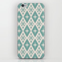 Mid Century Modern Atomic Triangle Pattern 710 Green and Beige iPhone Skin