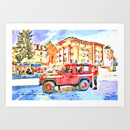 L'Aquila: red cars and orange building Art Print