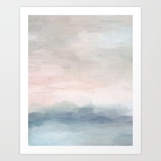 Blush Pink Mint Sky Baby Blue Abstract Ocean Sky Sunrise Wall Art, Water Clouds Painting by rachelelise