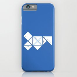 Hand Made White Squares, Triangles with Ink on Paper on Warm Blue iPhone Case