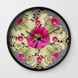 BLACK PATTERN BUTTERFLIES PINK HOLLYHOCKS ART Wall Clock