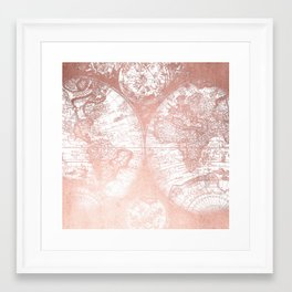 Rose Gold Pink Antique World Map by Nature Magick Framed Art Print