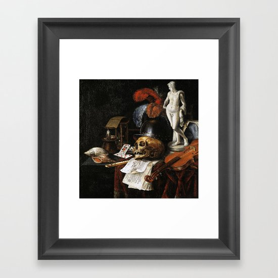 Vintage Vanitas- Still Life with Skull 3 Framed Art Print