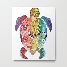'Turtle' Rainbow Metal Print