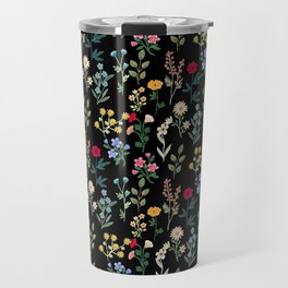 Spring Botanicals Black Travel Mug