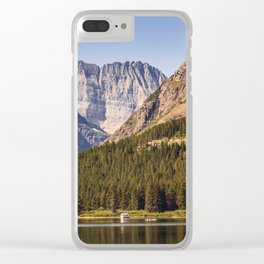 Many Glacier, Grinnell Point and Swiftcurrent Lake in Glacier National Park Clear iPhone Case