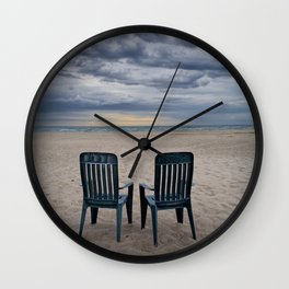 Sunrise on the Beach with Two Chairs at Oscoda Michigan Wall Clock