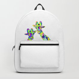 Abstract Cute Giraffe with Neon Colorful Spots Backpack