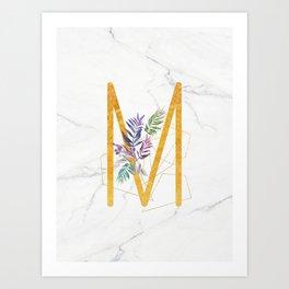 Modern glamorous personalized gold initial letter M, Custom initial name monogram gold alphabet prin Art Print