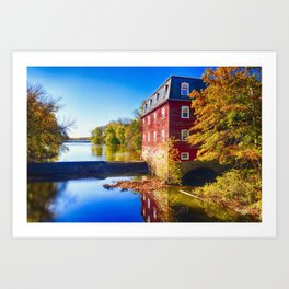 Kingston Mill Fall Scenic Overlooking Lake Carnegie Art Print