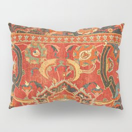 Red Arabic Rug I // 17th Century Colorful Firey Red Light Teal Sapphire Navy Blue Ornate Pattern Pillow Sham