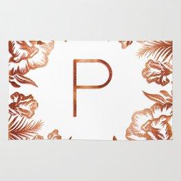 Letter P - Faux Rose Gold Glitter Flowers Rug