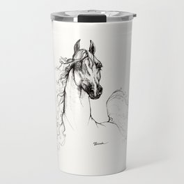 Arabian horse ink art Travel Mug