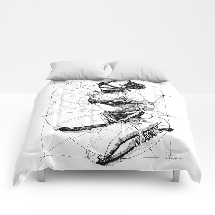 Restrained In Geometry. ©Yury Fadeev Comforters