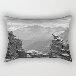 LONGS PEAK BLACK & WHITE COLORADO ROCKY MOUNTAIN NATIONAL PARK LANDSCAPE PHOTOGRAPHY Rectangular Pillow