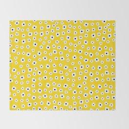 White Yellow Spring Flower Pattern Throw Blanket