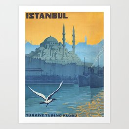 Mid Century Modern Travel Vintage Poster Istanbul Turkey Grand Mosque Art Print