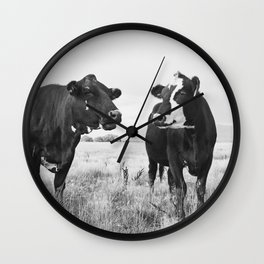 Cattle Photograph in Black and White Wall Clock