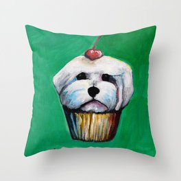 """Cherry on Pup"" Maltese Cake Throw Pillow"