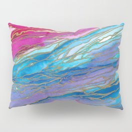 AGATE MAGIC PinkAqua Red Lavender, Marble Geode Natural Stone Inspired Watercolor Abstract Painting Pillow Sham