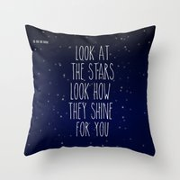 coldplay Throw Pillows featuring Look How They Shine For You 2.0 by Adel