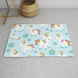 Pattern Of Unicorns, Cute Unicorns, Flowers Rug