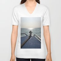 thailand V-neck T-shirts featuring Thailand Boatride by Plutonian Oatmeal