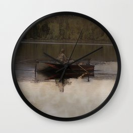 Fishing in Silence Wall Clock