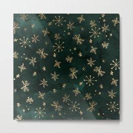 modern gold snowflakes winter christmas green watercolor Metal Print