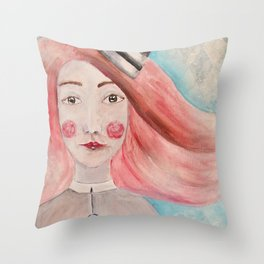 Pierrot Girl Throw Pillow