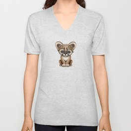 Cute Cougar Cub Wearing Reading Glasses on Pink Unisex V-Neck