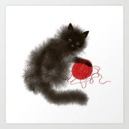 Mischievous cat Art Print
