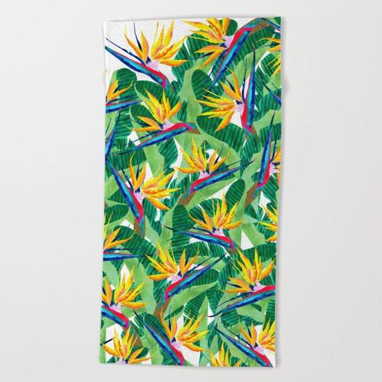 Summer Strelitzia Beach Towel