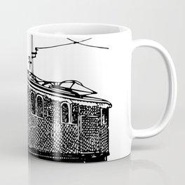 Old City Tram Carriage Detailed Illustration Coffee Mug