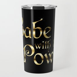 Labyrinth Babe With The Power (black bg) Travel Mug